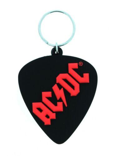 AC//DC Plectrum Rubber Keychain Schlüsselring Schwarz 4.5x6cm