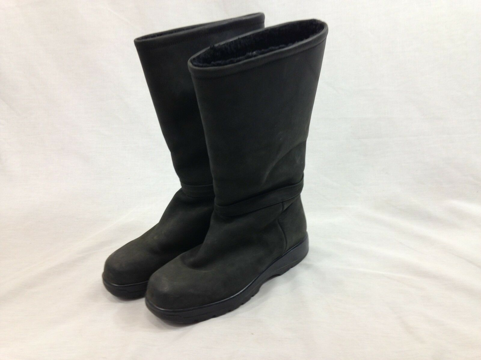 LL Bean Leather Boots Womens 7 Gray Black Tall Slip Ons Fleece Lined Canada