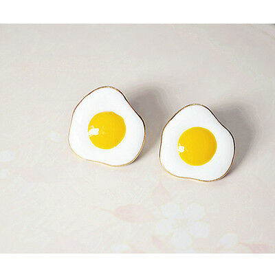 1Pair Cute Lovely Poached Eggs Image Earrings Ear Studs Jewelry Accessories