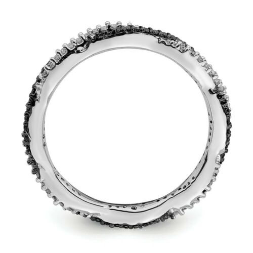 Argent Sterling Empilable 2.25 mm Anneau avec Black /& White Diamonds QSK631