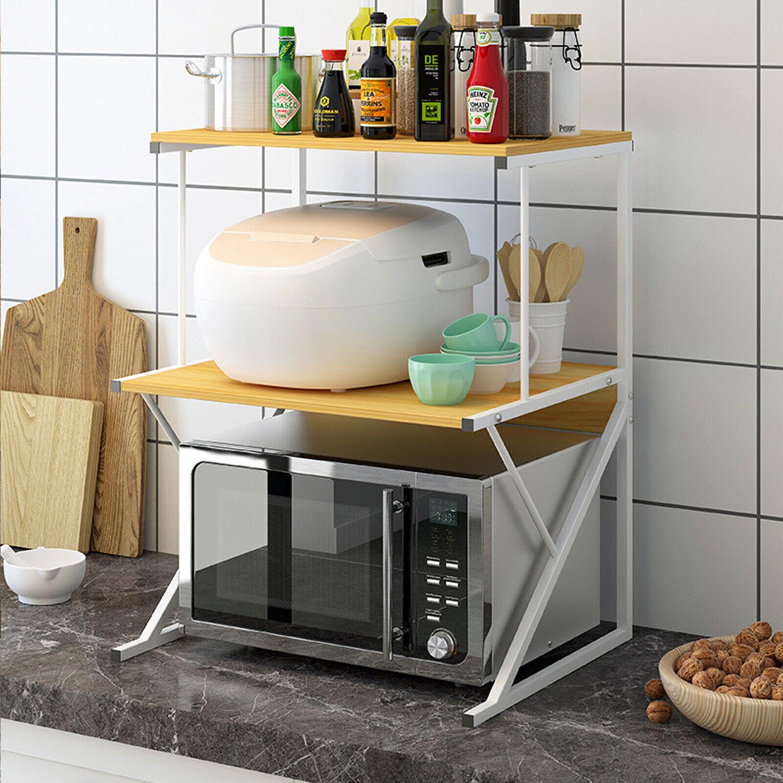 2 Tier Kitchen Corner Shelf Microwave Oven Rack Stand Condiment Storage Cabinet Ebay