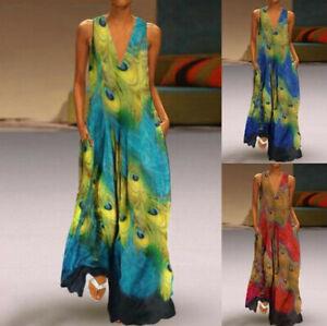 Summer-Women-Bohemia-Sleeveless-Peacock-Print-Long-Maxi-Dress-Beach-Shirt-Dress