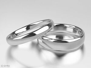 9ct White Gold His and Hers set of Wedding Rings Courtcomfort fit