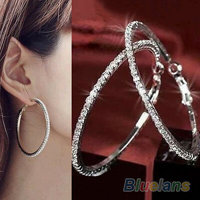 Womens Luxury Party Diamond Crystal Earring Chic Rhinestone Ear Hoop Dangle B52U