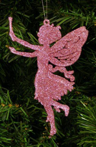 PIXIE CHRISTMAS ORNAMENT FAIRY PRINCESS PINK GLITTER FAIRIE