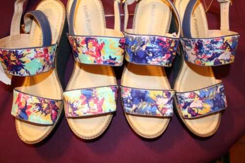 NWOB FLORAL PRINT HUSH PUPPIES WOMEN/'S CORES SLING WEDGE SANDALS NEW SHOES