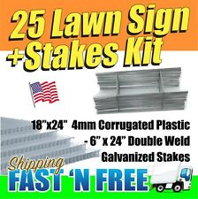"""25 Pack Blank Signs & Wire Stakes 24"""" for Yard Signs, Garage Sale FREE SHIPPING"""