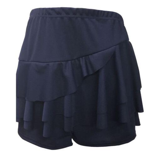 New Mini Skirts Shorts Womens Plain Side Layered Ruffle Frill Crepe Rara Skorts