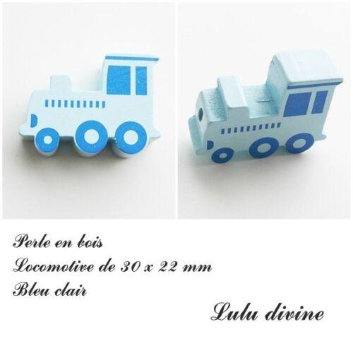 Perle en bois de 30 x 22 mm Bleu clair Locomotive Perle plate Train