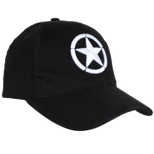 Black WW2 Star Logo Baseball Cap Embroidered White Star 100/% Cotton One Size