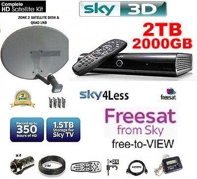SKY HD DRX895 2TB WIFI BOX INCLUDING ZONE 2 DISH, LNB & FULL INSTALL KIT