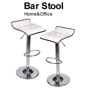 Details about Set Of 2 Swivel Bar Stools Gas Lift Adjustable Kitchen Dining  PU Leather