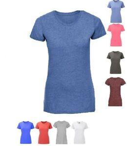Russell-Ladies-Short-Sleeve-Plain-Tee-Womens-Crew-Neck-Tshirt-New