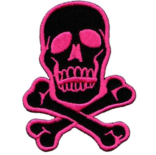 Iron on Pink and Black Skull and Crossbones Applique Patch