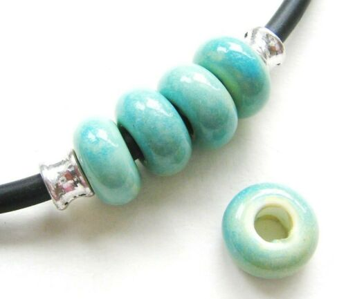 Céramique Porcelaine Perles rondellen Turquoise 7x14mm 10 Pièce großloch 5 mm serajosy