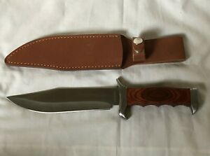 BOWIE KNIFE with Leather Sheath Stainless Steel Wood Handle