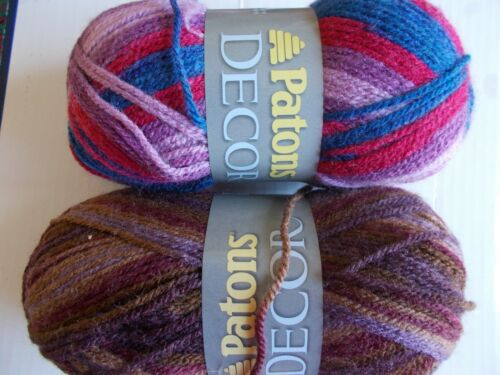 Patons Decor wool blend yarn, EscapeTapestry, mixed lot of 2 208 yds each