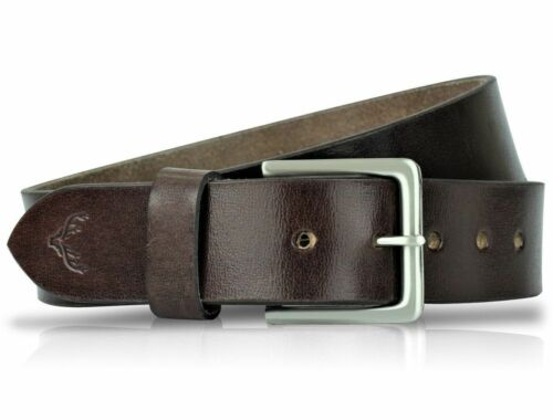 Cintura da Uomo Pelle Cinghie Vera Fibbie Nuovi Originali Pantaloni Taglie Marrone Nero Jeans