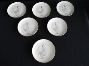 Set-of-6-Vintage-Winterling-Bavaria-Porcelain-Coaster-White-Gold-Grey-Pink-Plant