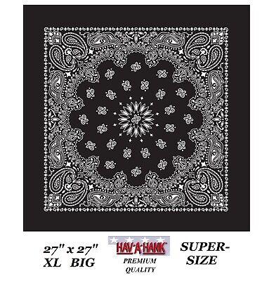 """Hav-A-Hank XL Grand Super Taille Noir Cachemire 27 /"""" Bandana Tête Drapé Masque"""
