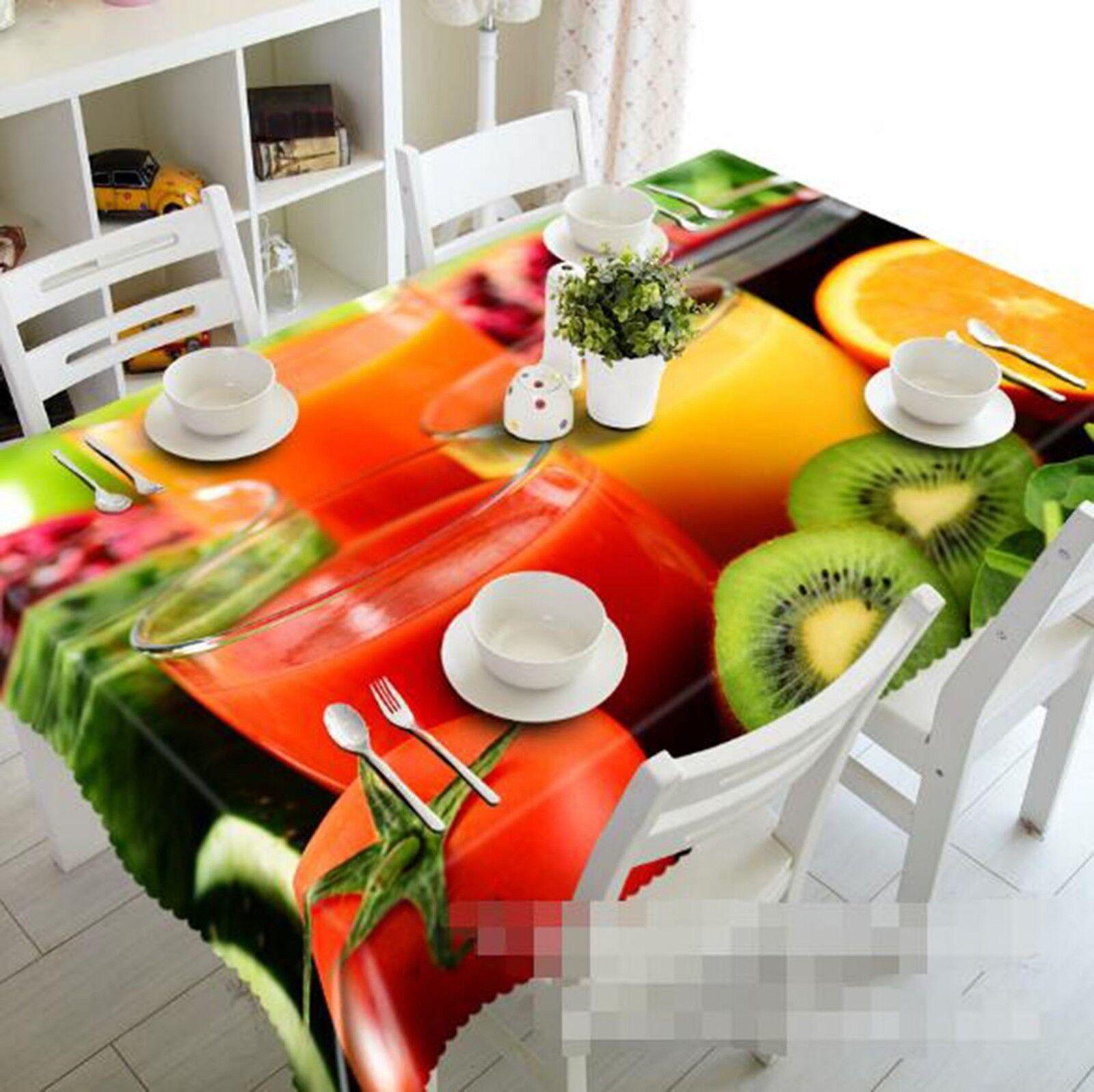 3D Fruit Juice 01 Tablecloth Table Cover Cloth Birthday Party Event AJ Lemon
