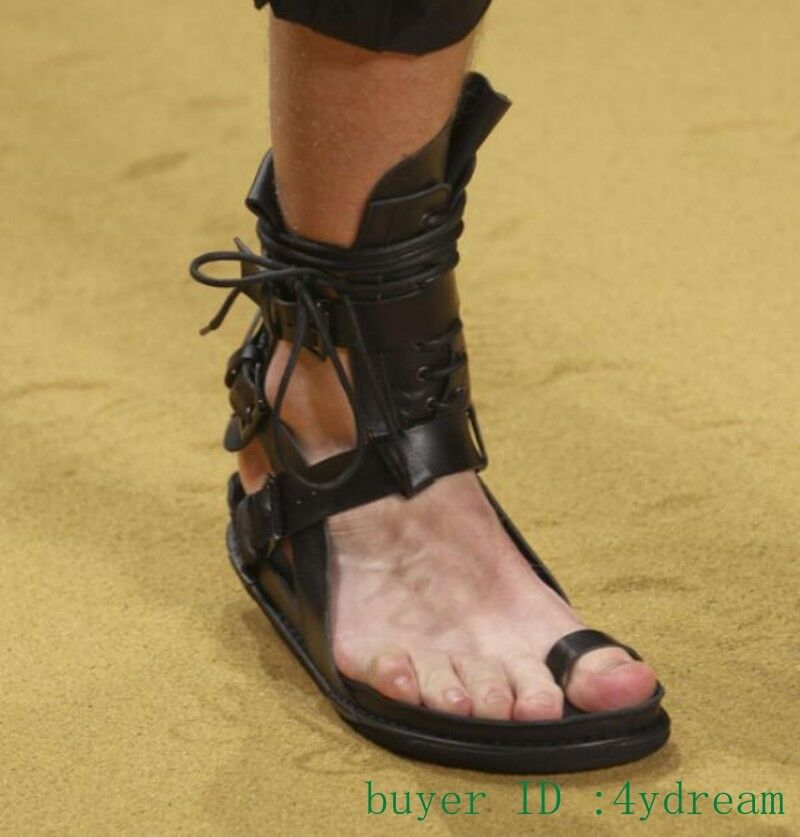 Gladiator Uomo Open Toe Clip Toe Thong Punk Sandals Lace Lace Lace Up PARTY Show scarpe 45 cfde1c
