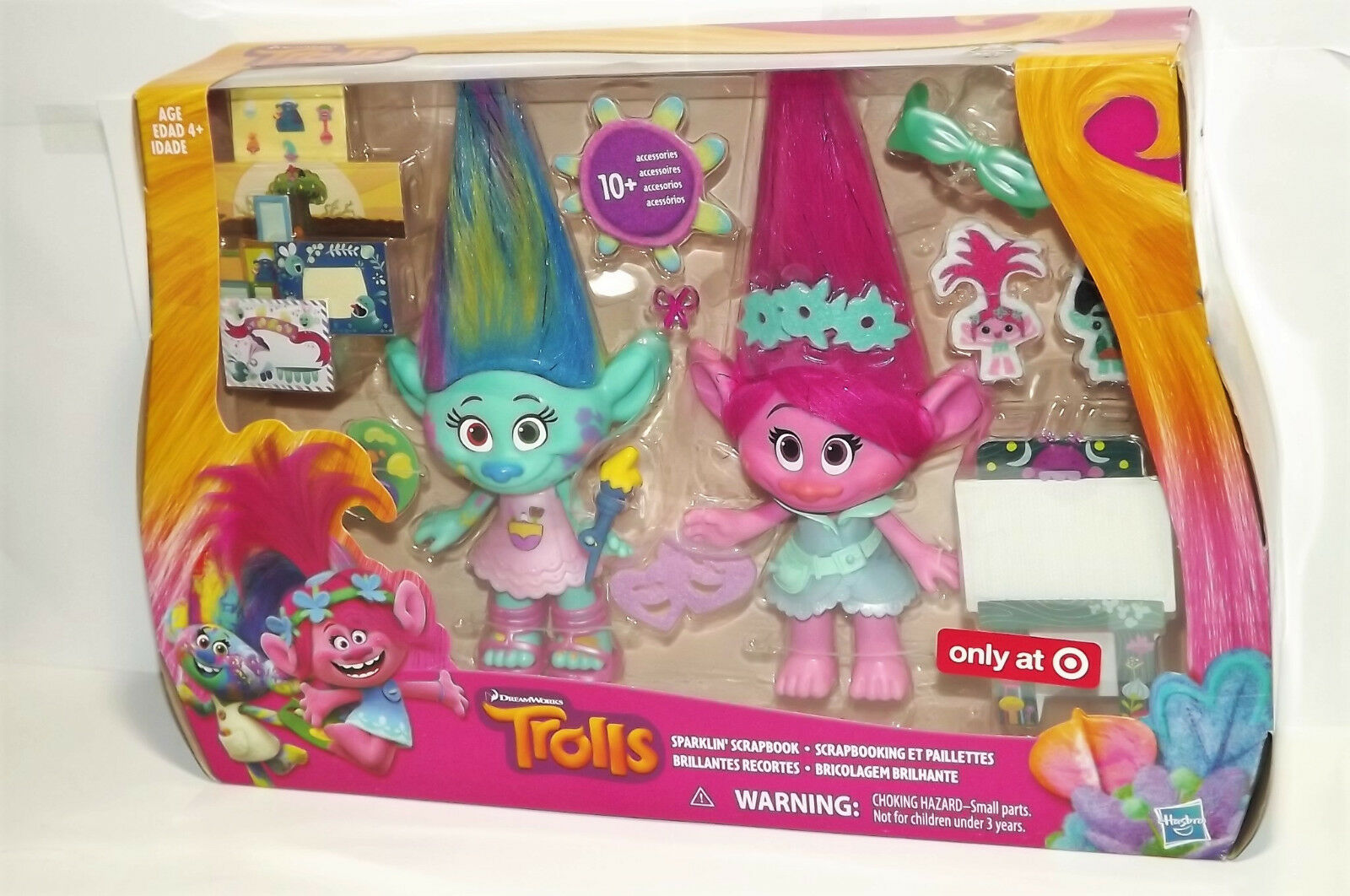 TROLLS HARPER & POPPY 9  DOLLS SPARKLIN SCRAPBOOK PLAY SET NEW