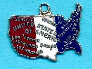 Details about Vintage Wells Sterling Silver Enamel UNITED STATES MAP Charm  - GOD BLESS AMERICA