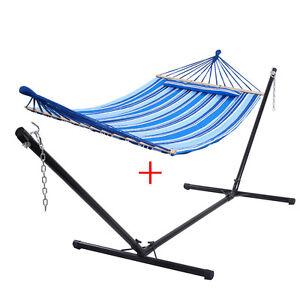 h ngematte mit gestell h ngemattengestell gartenliege h ngeschaukel mit kissen ebay. Black Bedroom Furniture Sets. Home Design Ideas
