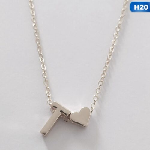 Girl 26 Initial Letter Heart Necklace Simple A-Z Alphabet Pendant Xmas Gift New`