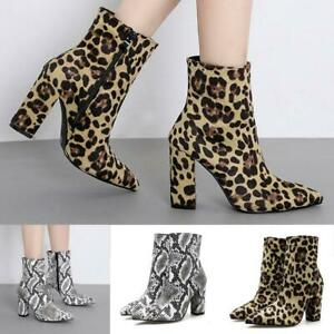 e294360e14b Details about Women Snakeskin Leopard Toe Zip Thick Pointed Boots