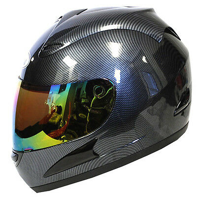 New Motorcycle Street Bike Full Face Helmet Carbon Fiber Black S M L XL