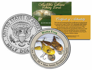 WOTTA-FROG-Collectible-Antique-Fishing-Lures-JFK-Kennedy-Half-Dollar-US-Coin