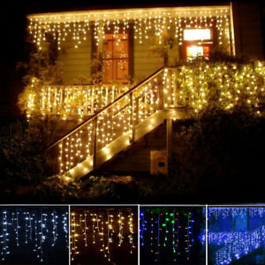 weihnachten licht led lichtervorhang innen au en garten party deko lichterkette ebay. Black Bedroom Furniture Sets. Home Design Ideas