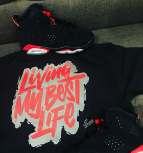 new concept 8418f 8b256 Image is loading Shirt-Match-Jordan-6-Infrared-2019-Living-Best-