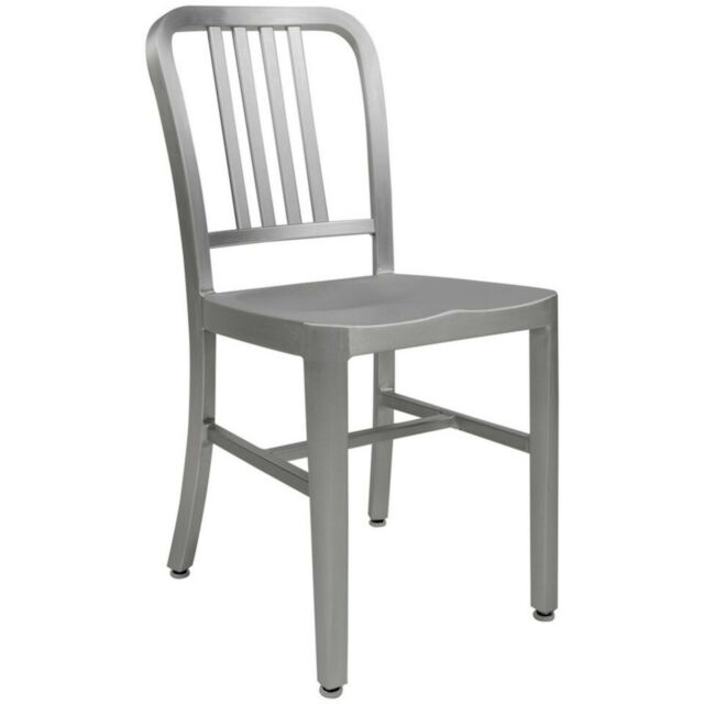 2x ALUMINUM 1940s 'NAVY' STYLE DINING CHAIRS ANODIZED FINISH IN/OUTDOOR - 8 LBS!
