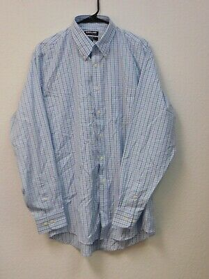 Light Blue Plaid Kirkland Signature Men's Button Down Dress Shirt 16 X 34/35 With The Most Up-To-Date Equipment And Techniques