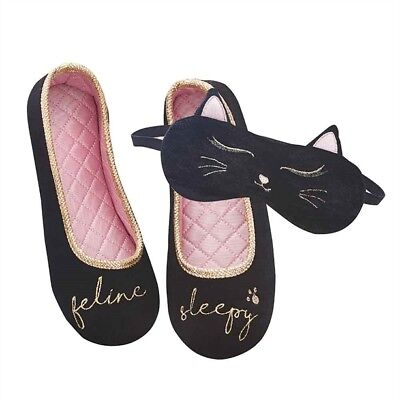 Slumberzzz Ladies Two Tone Stripe Cat Ballet Slippers
