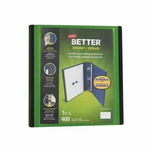 Staples 1-1/2 Inch Better View Binders With D-rings Green