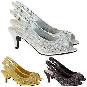 28072ae88ef New Womens Low Mid Kitten Heel Diamante Sandals Ladies Bridal ...