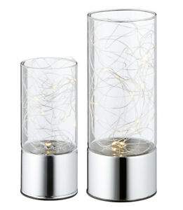 LED-Windlicht-Silberdraht-8-15-LEDs-Glas-chrom-silber-Batteriebetrieb