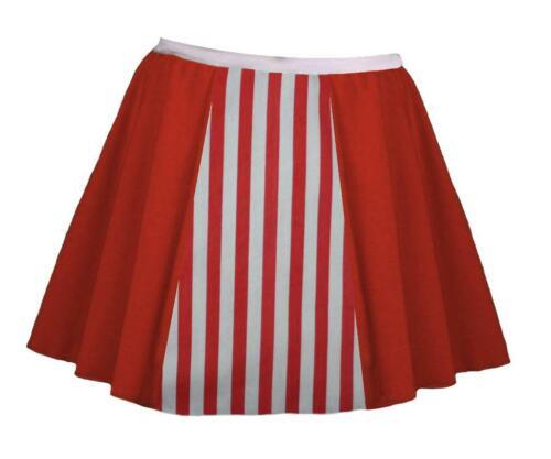 "Ladies 15/"" Red /& White Festive Candy Cane Christmas Fancy Dress Skater Skirt"
