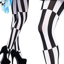 Black/White Striped Stockings Lolita Tights Pantyhose Criss Cross Jester Design