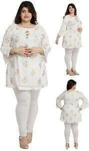 PLUS-SIZE-Women-Indian-White-Cotton-Kurti-Tunic-Kurta-Shirt-Dress-ECURVE16D