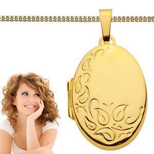 Damen Foto Medaillon Anhänger florales Bilder Amulett zum öffnen Echt Gold 333