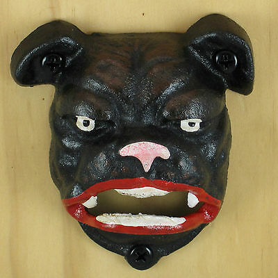 BULLDOG Cast Iron Figural Wall Mount Bottle Opener Reproduction of a Classic NEW