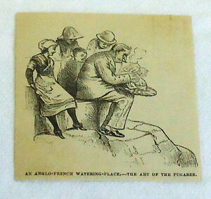 1880-small-magazine-engraving-ANGLO-FRENCH-WATERING-PLACE-ART-OF-PUGAREE