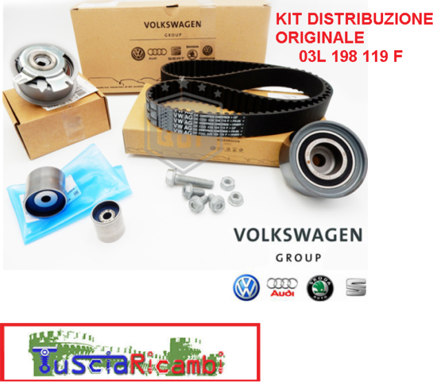 Kit distribuzione ORIGINALE VW 03L198119F AUDI A1/A3/A4 2.0 TDI VW GOLF VI 1.6