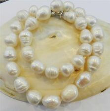 "BIG RICE SHAPE 12-13MM WHITE REAL NATURAL PEARL NECKLACE 18"" AAA"