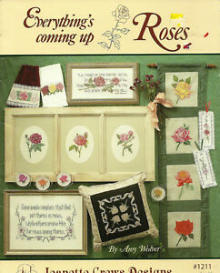 Roses-Flowers-Cross-Stitch-Pattern-Leaflet-Poems-Towels-Bookmarks-18-designs